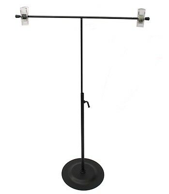 Black Metal Adjustable Height Shirt Display Stand With 2 Clip Hanger