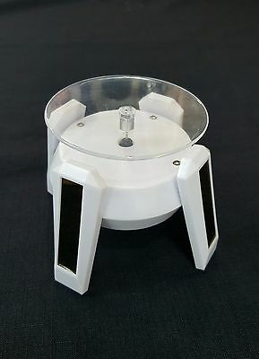 WHITE Solar Powered Rotating Jewelry Display Plate Stand Turn Table Showcase