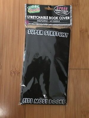 NEW Stretchable Book Cover Fabric Sox sock School College /black