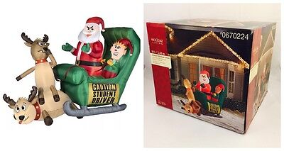 New! Gemmy 8' Lighted Elf Sleigh Lesson Student Driver Airblown Inflatable