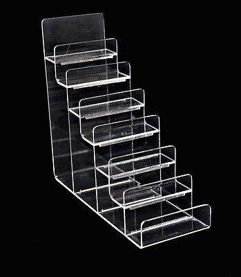 Clear 7 Layer Step Acrylic Retail Shop Clutch Handbag Purse Wallet Display Stand