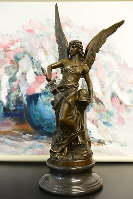 Signed: Nick, female worrior w/ wing,  Winged goddess of Victory Bronze Statue