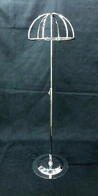 Adjustable Height Tabletop Silver Metal Wire Hat/Wig Stand Hats/Wig Display Ball