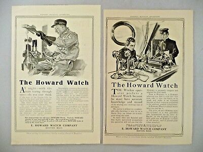 Howard Watch LOT of 2 PRINT AD - 1909 ~~ pocket watches