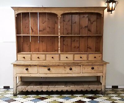 "Antique English Pine Welsh Dresser 86""w x 79""h"