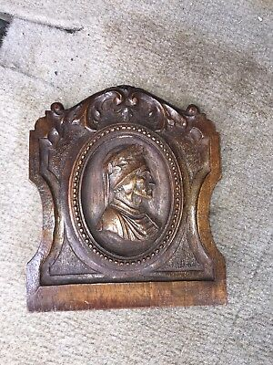 "1920's 6"" Carved Wood Pediment W/bust"
