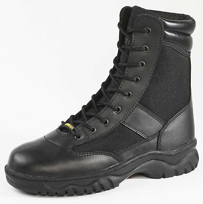 """Rhino 83C01 Mens Leather Black 8"""" Soft Toe Lace Up Work Boots"""