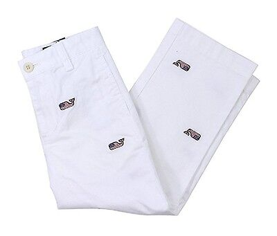 NWT Vineyard Vines $69.50 Embroidered Flag Whale White Club Pants Youth Size 16