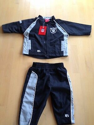 NFL Oakland Raiders Just Win Baby Unisex 2 Piece Wind Suit, Lined Jacket Pants