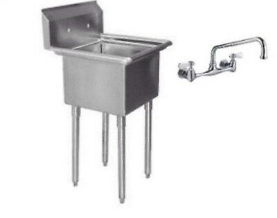 One Compartment (1) Stainless Steel Utility Prep Mop Sink 22 X 20 with Faucet...