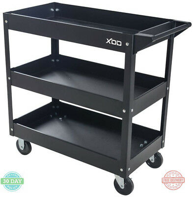 Rolling Utility Tool Cart Steel 3-Tray Storage 2-Swivel Casters Push Side Handle