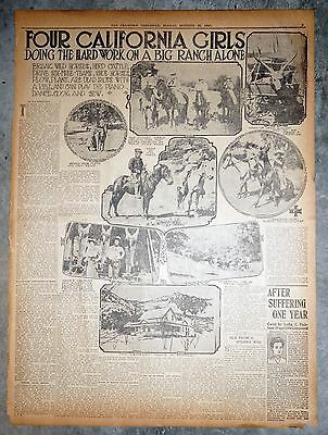 1910 Newspaper Front Page - 4 California Cowgirls Black Rock Ranch Mendocino