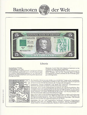 Banknotes of World Liberia 5 Dollars 1989 GEM UNC P19 Prefix AD