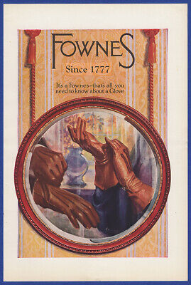 Vintage 1923 FOWNES Leather Gloves Men's Women's Fashion Art Decor Print Ad 20's