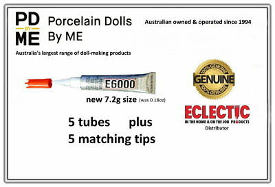 5 x tubes (with tips)  of E-6000Jewellery & Craft Glue 5.32ml / .18Fl.OZ