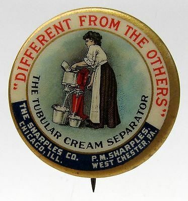 1896 SHARPLES CREAM SEPARATOR Woman Working Machine Dairy pinback button*