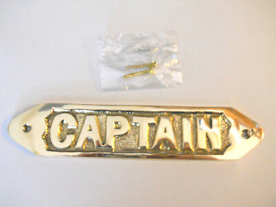 Solid Brass Captain Door Sign Or Wall Plaque Nautical Collectible Decor New