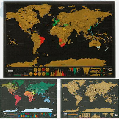 World Map Poster Journal Log Deluxe Travel Edition Scratch Off Personalized Hot
