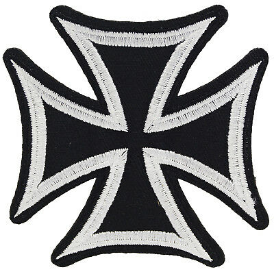 Iron Cross Iron On Patch Sew Badge Embroidered Maltese Punk Metal Rock Lemmy