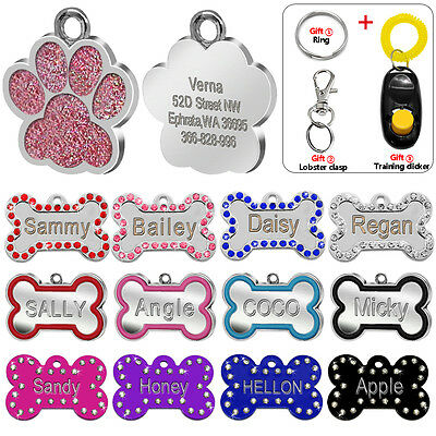 Bone Paw Personalized Dog Tags Engraved Cat Puppy Pet ID Name Collar Tag Glitter