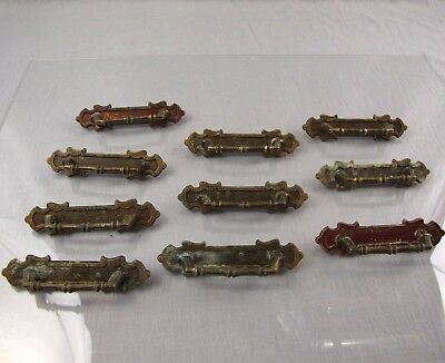 "Vintage Lot of 10 Brass Drawer Pulls Metal 2-Hole 3"" Collection Gothic Colonial"