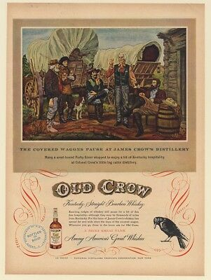 1950 Covered Wagons Pause at James Crow's Distillery Old Crow Whisky Print Ad