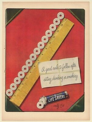 1950 Life Savers Pep O Mint Good Rule to Follow After Eating Drinking Smoking Ad