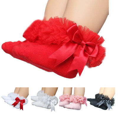 Baby Kid Socks Cute Lace Bow Tie Ruffle Frilly Ankle Princess Cotton Short Socks