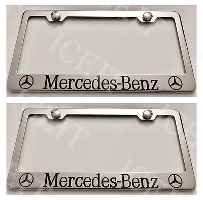 "/""Mercedes-Benz/"" Stainless Mirror Front License Plate /& Frame Combo Rust Free"