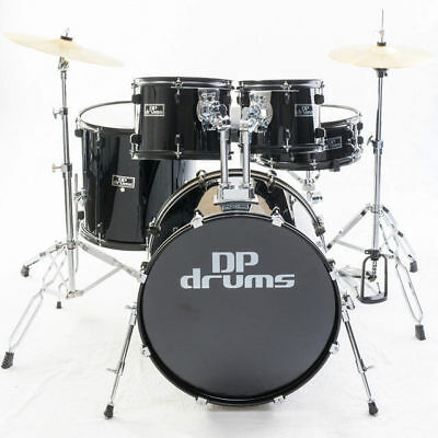 5 Piece Premium Black Drum Kit Package Isolated Toms Cymbals Stool  DP Drums