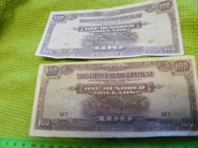 Lot of 2 diff. Japanese Occupation $100.00 Banknotes of Malaya in WWII..(B).