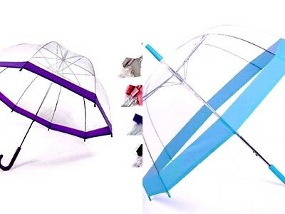 Adults child's new CLEAR SEE THROUGH DOME BUBBLE WEDDING UMBRELLA PURPLE BLUE