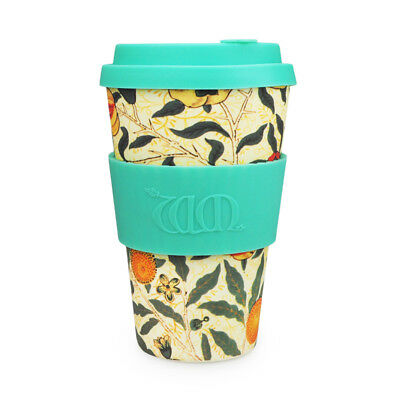Ecoffee Cup & William Morris Pomme with Turquoise Silicone 14oz Eco Friendly Mug