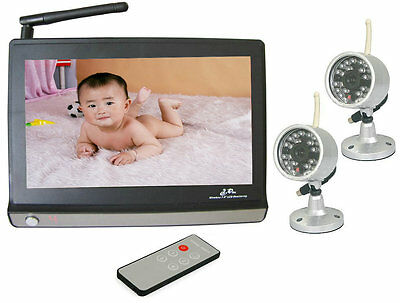 """2.4GHz Wireless 7"""" TFT LCD Video Baby Monitor with Night vision Remote 2 Camera"""