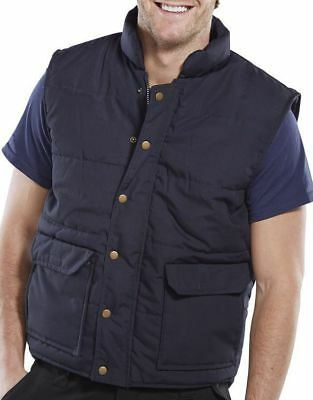 Navy Click Quilted Bodywarmer Horse Riding Workwear Pockets Gilet MED H3 SB14