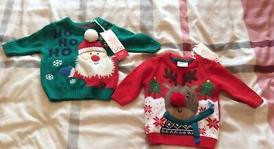 Twin Boys Christmas Jumpers Upto 1 Months Free Uk Postage