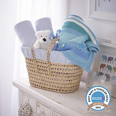 New Clair De Lune Blue Waffle Moses Basket Gift Basket - Sheets, Blanket & Teddy