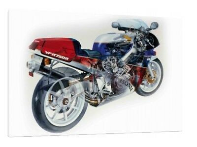 Honda VFR750R - 30x20 Inch Canvas Framed Classic Picture Print RC30