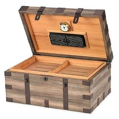 RENAISSANCE 120 Cigar Humidor Distressed Reclaimed Wood & Iron - SHIPS FREE