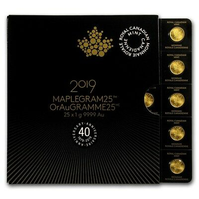 Maplegram25 mit 25 x 1 Gramm Gold Maple Leaf 2019 Goldmünze 999,9 im Blister