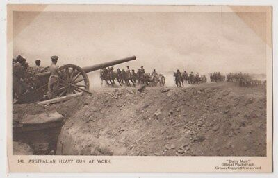 Early Postcard, Military Soldiers, Australian Heavy Gun At Work,