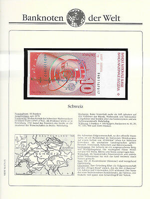 Banknotes of World Switzerland 10 Franken 1986D P53f.3 GEM UNC sign 56