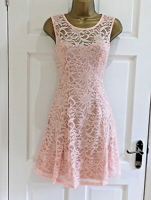 £35! Nude Lace Glitter Sparkly Party Evening Prom Skater Dress Sz 8 10 12 14
