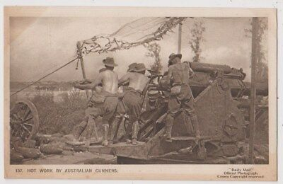 Early Postcard, Military Soldiers, Hot Work By Australian Gunners,