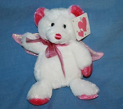 Dan Dee ANGEL TEDDY BEAR Valentines Day Stuffed Animal White Pink Wings Soft Toy