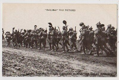 Early Postcard,Military Soldiers,The Wiltshires Cheering DuringThe Great Advance