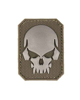 Patch 3D Skull PVC m. Klett small, Camping, Outdoor, Military   -NEU-