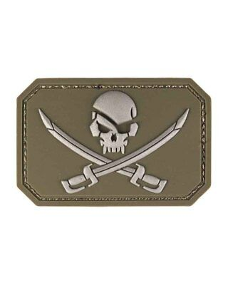 Patch 3D Skull w. Swords PVC m. Klett, Camping, Outdoor, Military   -NEU-