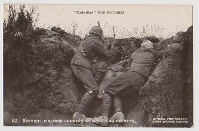 Early Postcard,Military Soldiers, British Machine Gunners Wearing Gas Helmets,