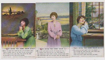 Early Postcard,Military Soldiers, God Bring You Home Again, Set Of 3 Bamforth